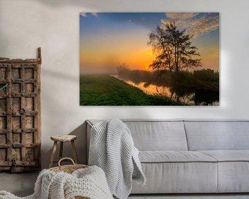 Kleurrijke zonsopgang in de Schermer Polder van Photo Henk van Dijk