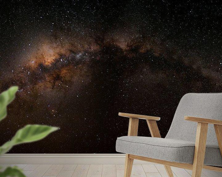 Sfeerimpressie behang: De Melkweg - Zwart - Horizontaal van Pieter Parlevliet
