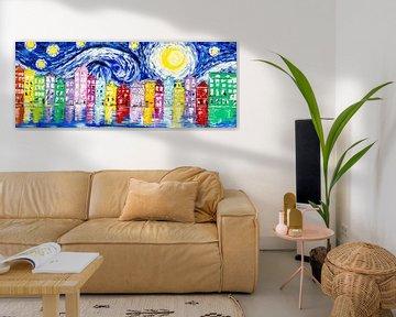 Sternennacht über Amsterdam von Artflow Schilderijen