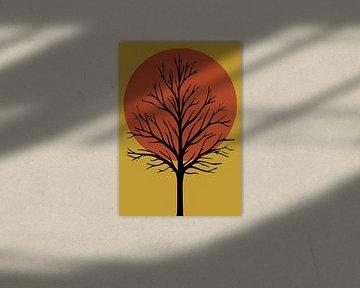 Baum mit Sonnenuntergang, grafischer Druck