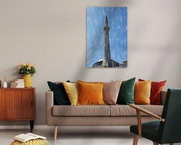 Minaret devant un ciel bleu sur Frank Heinz