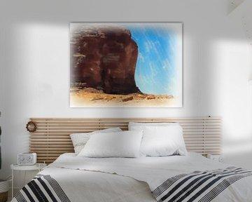 Un bloc monolithique massif dans le Wadi Rum sur Frank Heinz