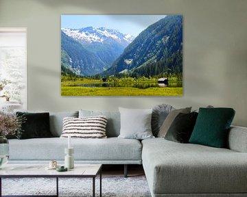 Bergmeer met huis in de Oostenrijkse Alpen
