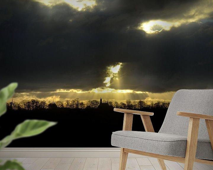 Sfeerimpressie behang: Zonnestralen boven Arnemuiden van Marcel Nauta