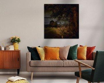 Niederländische Landschaft mit Bäumen und Bach im Stil der niederländischen Meister von ina kleiman