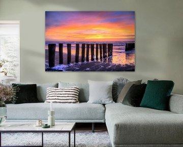 Zonsondergang Bergen aan Zee van Watze D. de Haan