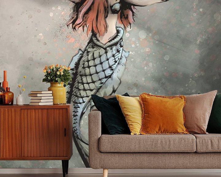 Beispiel fototapete: Digitale Kunst - Meerjungfrau mit roten Haaren von Emiel de Lange