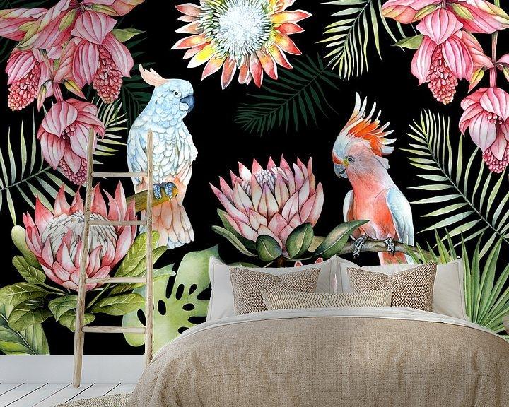 Beispiel fototapete: Papageien tropische Blumen von Geertje Burgers