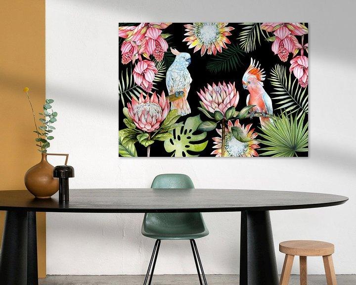 Beispiel: Papageien tropische Blumen von Geertje Burgers