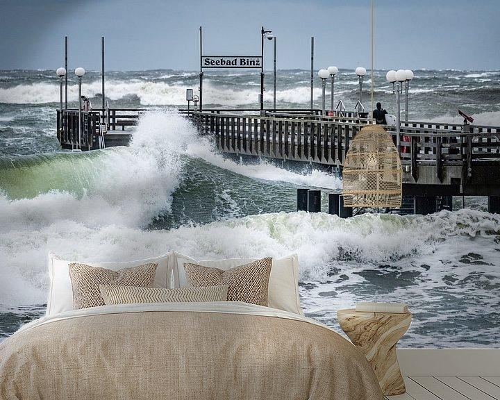 Beispiel fototapete: Sturmwellen auf der Seebrücke Ostseebad Binz, Insel Rügen von Mirko Boy