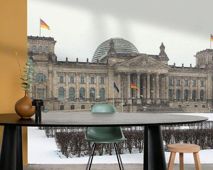 Impression: Le bâtiment du Reichstag à Berlin pendant les chutes de neige sur Frank Herrmann