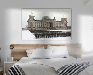 Reichstagsgebäude Berlin bei Schneefall von Frank Herrmann