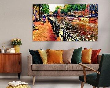 Rondvaartboot Amsterdam en fietser van Digital Art Nederland