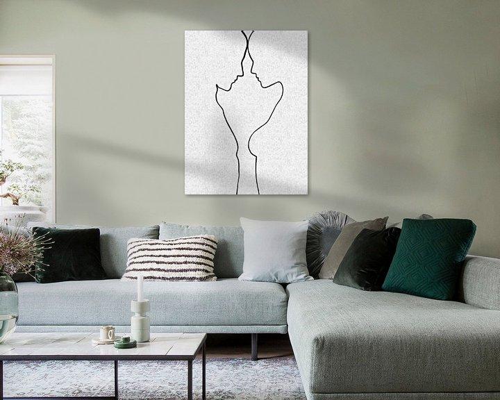 Sfeerimpressie: Abstracte lijntekening naakt portret  man en vrouw van Maurice Dawson