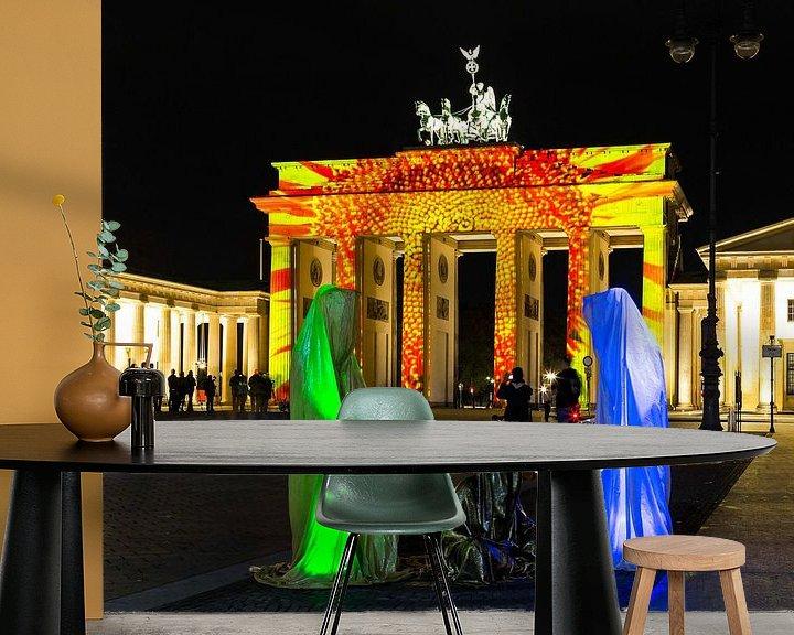 Sfeerimpressie behang: De Brandenburger Tor Berlin in een bijzonder licht van Frank Herrmann