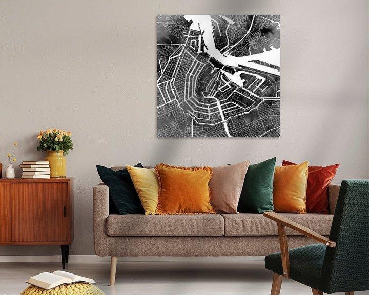 Impression: Amsterdam Canal Ring | Plan de la ville sur aquarelle monochrome sur Wereldkaarten.Shop