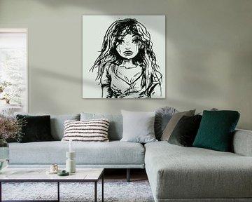 Droevig meisje - inkt portret van Emiel de Lange