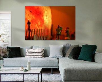 Eine warmorangefarbene Urlaubsszene von J..M de Jong-Jansen