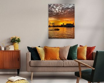 Zonsondergang in Rotterdam (2) van Klaus Lucas