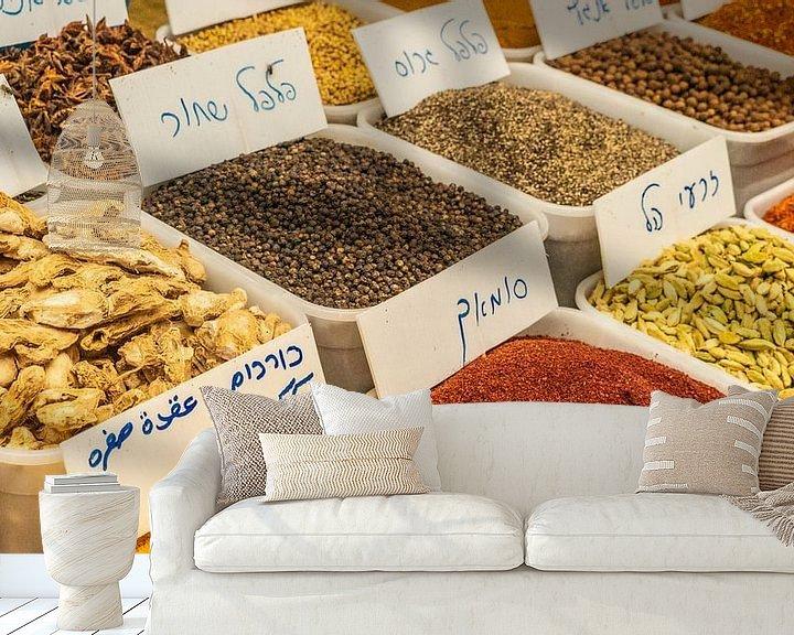 Sfeerimpressie behang: Kruiden en specerijen in bakken in Nablus van Jessica Lokker