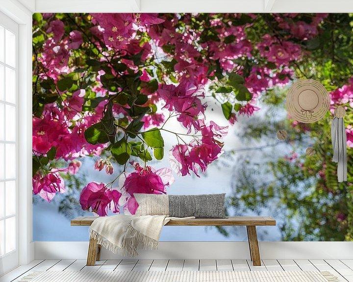 Sfeerimpressie behang: Roze bloemen in Jericho (Palestijns gebied) van Jessica Lokker
