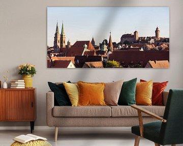 Skyline met de keizerlijke burcht in Neurenberg van Werner Dieterich