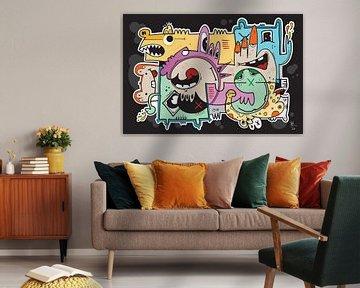 Slickers : Graffiti-Karikatur Pop Art von Koen Haarbosch