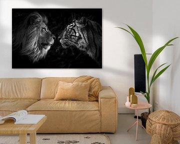 Big cat staredown leeuw en tijger in jungle van Daphne van Dam