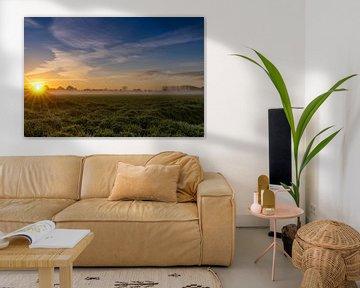 Mistige morgen met de opkomende zon van Lieke van Grinsven van Aarle
