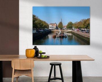 Het middeleeuwse stadje Zierikzee in de provincie Zeeland in Nederland van Tjeerd Kruse