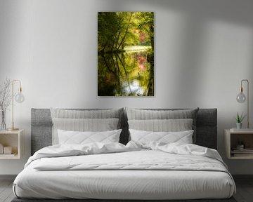 Rivier landschap met een watervogel van Anita van Gendt