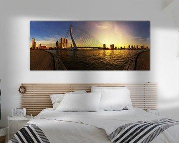 Rotterdamse skyline bij zonsondergang