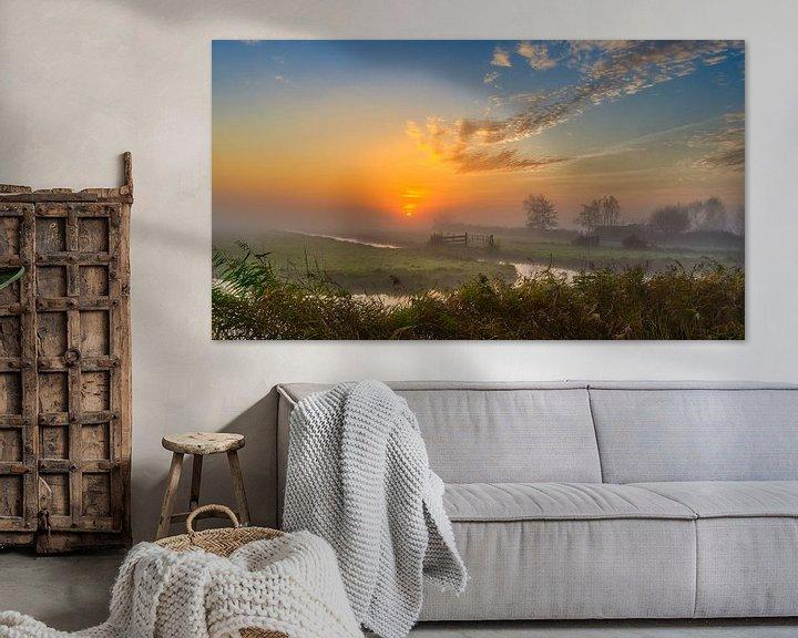 Sfeerimpressie: Kleurrijke zonsopkomst in de Schermer Polder van Photo Henk van Dijk