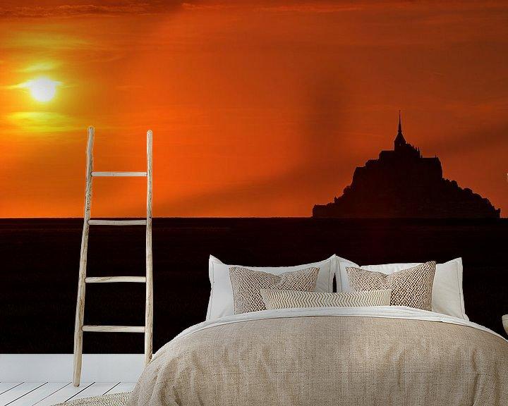 Impression: La silhouette du Mont-Saint Michel au coucher du soleil sur Frank Herrmann