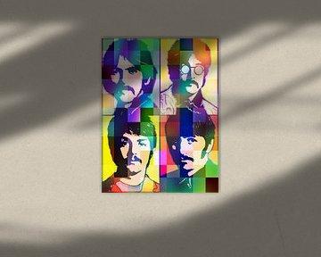 Die Beatles Abstraktes Pop-Art-Portrait von Art By Dominic
