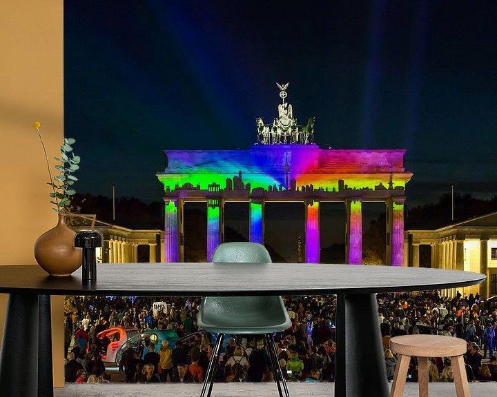 Sfeerimpressie behang: Berlijn Skyline aan de Brandenburger Tor van Frank Herrmann