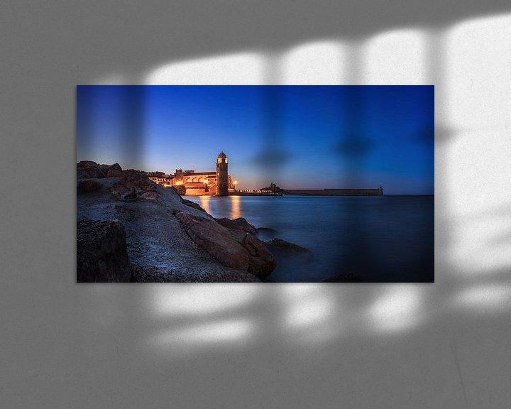 Impression: Panorama de Collioure à l'heure bleue sur Frank Herrmann