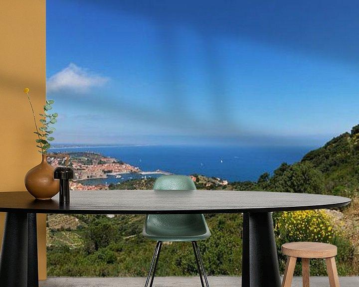 Impression: Panorama de Collioure - village historique et Fort St. Elme dans le sud de la France sur Frank Herrmann