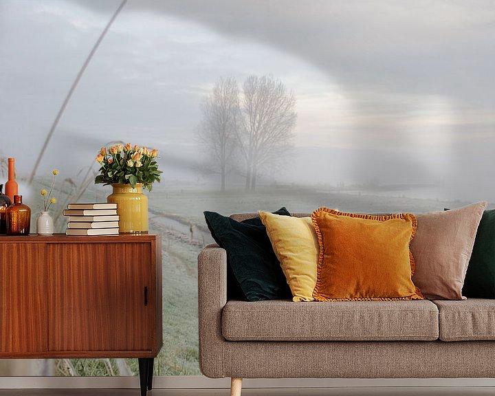 Impression: Brouillard sur la digue en coquillage sur Nathalie Pol
