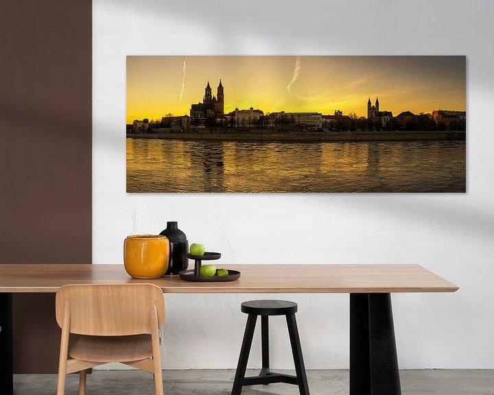 Impression: L'horizon de Magdebourg au coucher du soleil sur Frank Herrmann