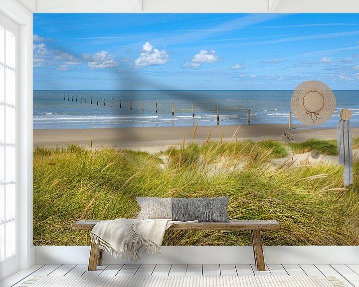 Sfeerimpressie behang: Strand van Nieuwpoort van Johan Vanbockryck