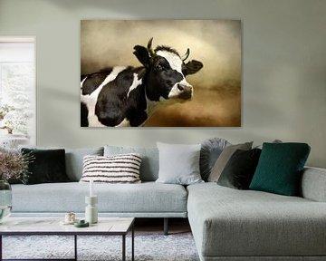 Kuh-Portrait im Landschaftsgemälde von Diana van Tankeren