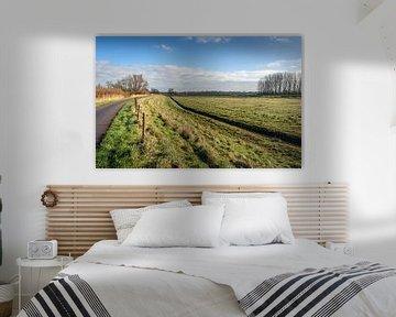 Nederlands polderlandschap op een zonnige winterdag van Ruud Morijn