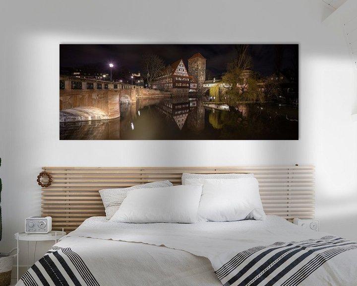 Impression: Vue de Maxbrücke meyt sur la Weinstadl et la Pegnitz au centre de Nuremberg en Allemagne sur Joost Adriaanse