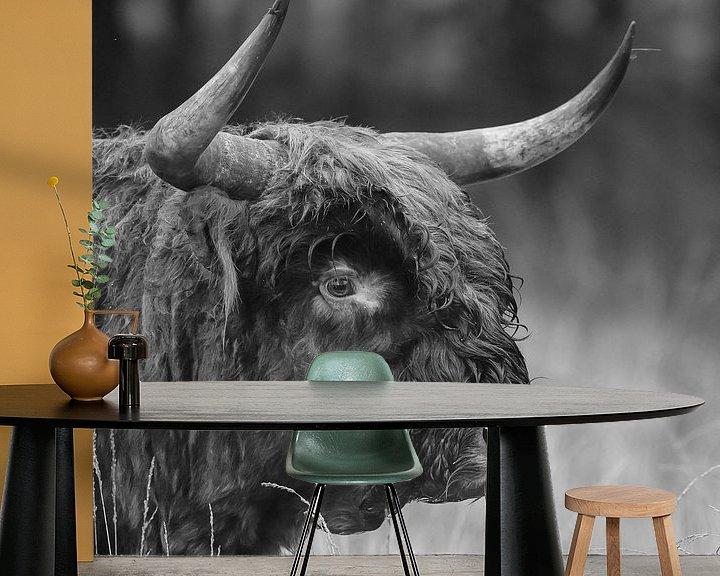 Sfeerimpressie behang: Schotse Hooglander in Zwart/wit van Menno Schaefer