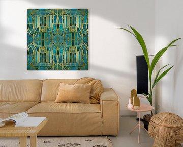 Art Deco Türkis Gold von Andrea Haase