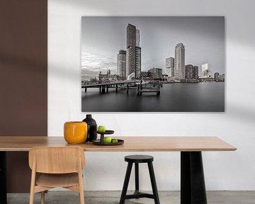 Zicht op de skyline van de kop van zuid in zwart/wit van Dennisart Fotografie