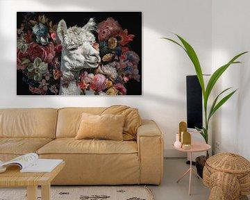 Alpaca tussen de vintage bloemen
