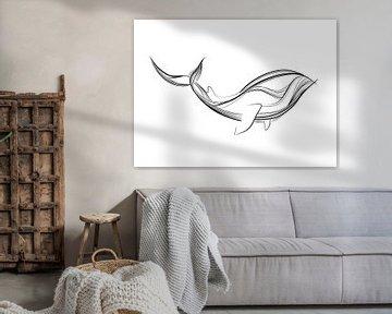 Poster Whale - schwarz-weiß - feine Linien - Kinderzimmer von Studio Tosca