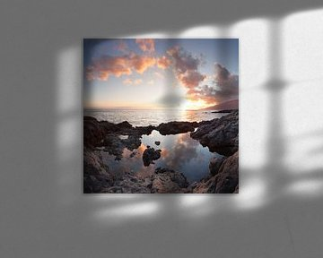 Kust bij zonsondergang, Canarische Eilanden, Spanje van Markus Lange